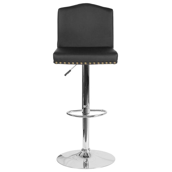 Flash Furniture Bellagio Contemporary Adjustable Height Barstool with Accent Nail Trim in Black Leather - DS-8111-BLK-GG