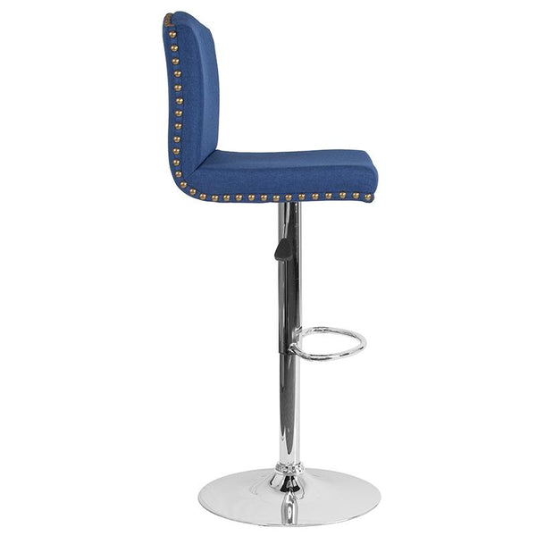 Flash Furniture Bellagio Contemporary Adjustable Height Barstool with Accent Nail Trim in Blue Fabric - DS-8111-BLU-F-GG
