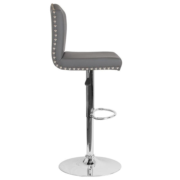 Flash Furniture Bellagio Contemporary Adjustable Height Barstool with Accent Nail Trim in Gray Leather - DS-8111-GRY-GG