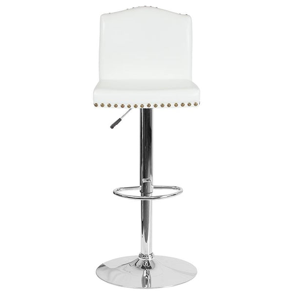 Flash Furniture Bellagio Contemporary Adjustable Height Barstool with Accent Nail Trim in White Leather - DS-8111-WH-GG