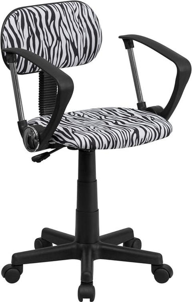 Flash Furniture Black and White Zebra Print Swivel Task Chair with Arms - BT-Z-BK-A-GG