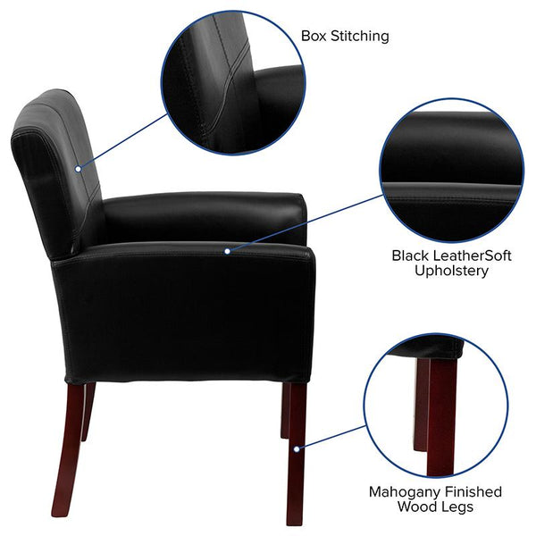 Flash Furniture Black Leather Executive Side Reception Chair with Mahogany Legs - BT-353-BK-LEA-GG
