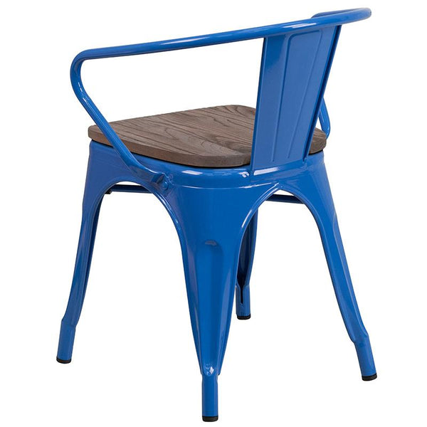 Flash Furniture Blue Metal Chair with Wood Seat and Arms - CH-31270-BL-WD-GG