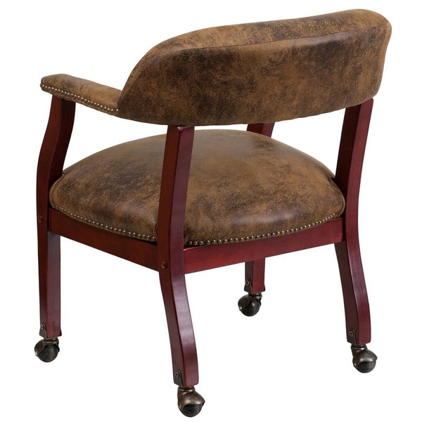 Flash Furniture Bomber Jacket Brown Luxurious Conference Chair with Accent Nail Trim and Casters - B-Z100-BRN-GG