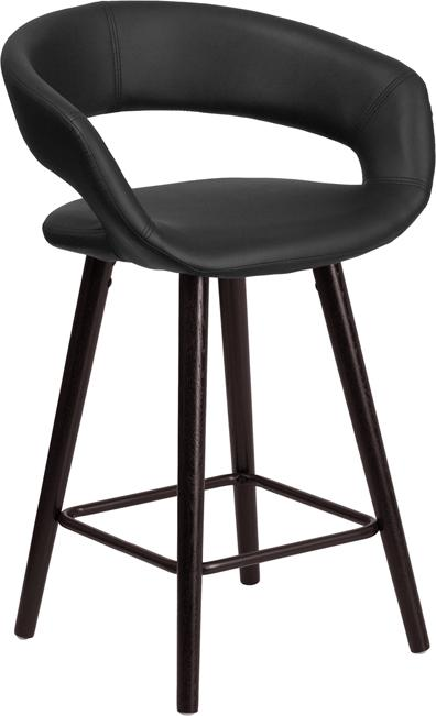 Flash Furniture Brynn Series 23.75'' High Contemporary Cappuccino Wood Counter Height Stool in Black Vinyl - CH-152561-BK-VY-GG