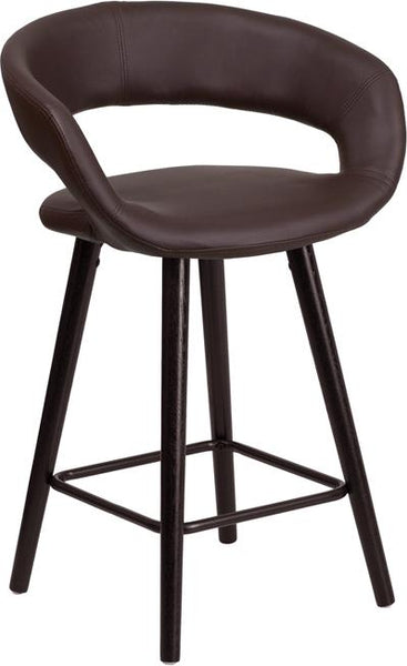 Flash Furniture Brynn Series 23.75'' High Contemporary Cappuccino Wood Counter Height Stool in Brown Vinyl - CH-152561-BRN-VY-GG