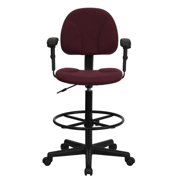 Flash Furniture Burgundy Fabric Drafting Chair with Adjustable Arms (Cylinders: 22.5''-27''H or 26''-30.5''H) - BT-659-BY-ARMS-GG
