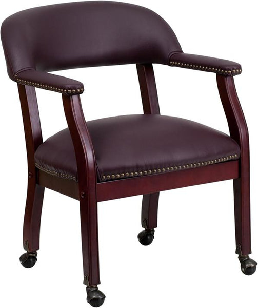 Flash Furniture Burgundy Top Grain Leather Conference Chair with Accent Nail Trim and Casters - B-Z100-LF19-LEA-GG