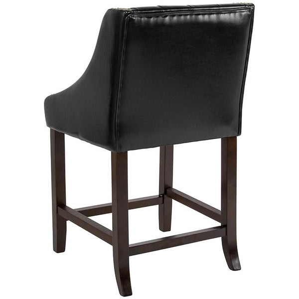 "Flash Furniture Carmel Series 24"" High Transitional Tufted Walnut Counter Height Stool with Accent Nail Trim in Black Leather - CH-182020-T-24-BK-GG"