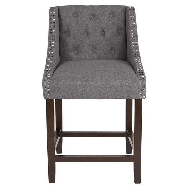 "Flash Furniture Carmel Series 24"" High Transitional Tufted Walnut Counter Height Stool with Accent Nail Trim in Dark Gray Fabric - CH-182020-T-24-DKGY-F-GG"
