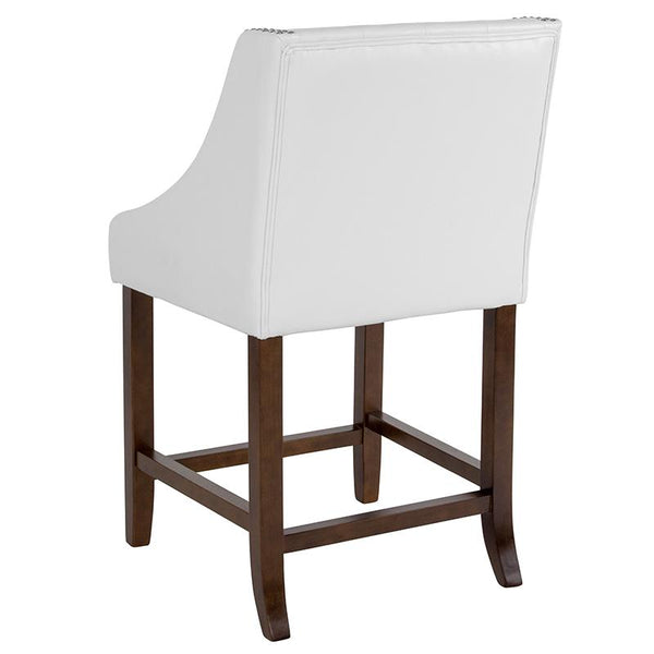 "Flash Furniture Carmel Series 24"" High Transitional Tufted Walnut Counter Height Stool with Accent Nail Trim in White Leather - CH-182020-T-24-WH-GG"