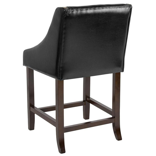 "Flash Furniture Carmel Series 24"" High Transitional Walnut Counter Height Stool with Accent Nail Trim in Black Leather - CH-182020-24-BK-GG"