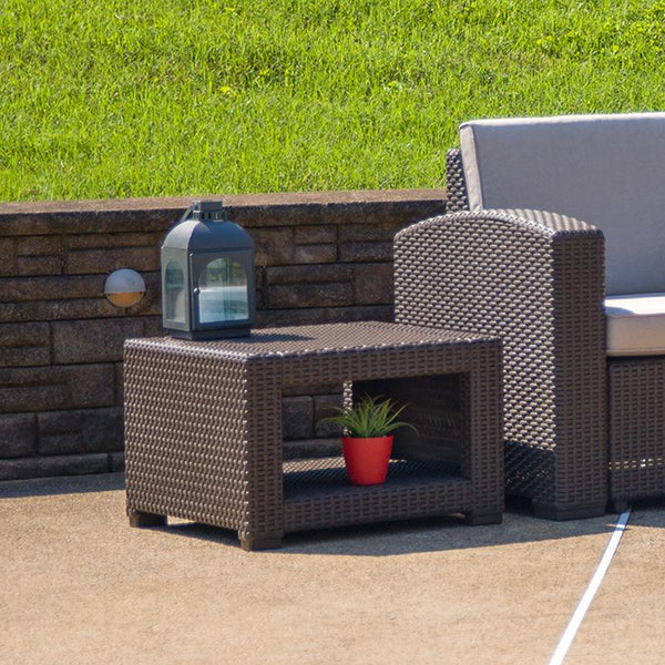 Flash Furniture Chocolate Brown Faux Rattan End Table - DAD-SF1-S-GG