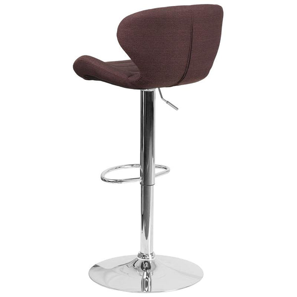 Flash Furniture Contemporary Brown Fabric Adjustable Height Barstool with Curved Back and Chrome Base - CH-321-BRNFAB-GG