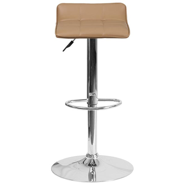Flash Furniture Contemporary Cappuccino Vinyl Adjustable Height Barstool with Quilted Wave Seat and Chrome Base - DS-801B-CAP-GG