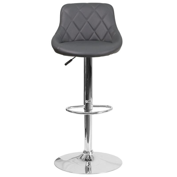 Flash Furniture Contemporary Gray Vinyl Bucket Seat Adjustable Height Barstool with Chrome Base - CH-82028A-GY-GG