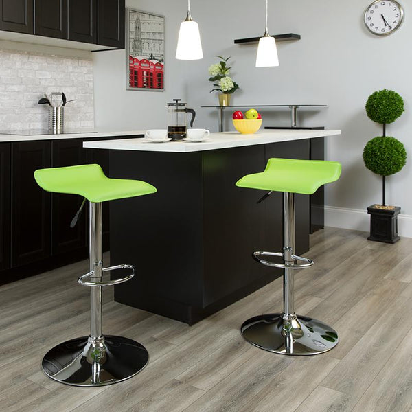 Flash Furniture Contemporary Green Vinyl Adjustable Height Barstool with Solid Wave Seat and Chrome Base - DS-801-CONT-GRN-GG