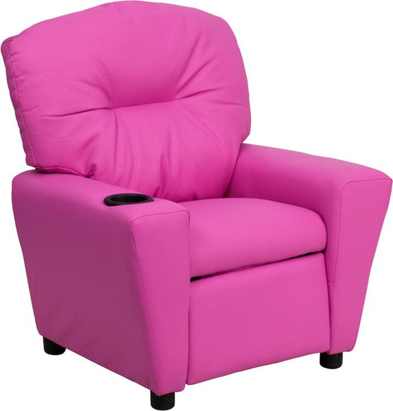 Flash Furniture Contemporary Hot Pink Vinyl Kids Recliner with Cup Holder - BT-7950-KID-HOT-PINK-GG