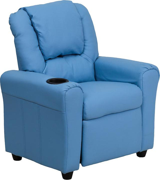 Flash Furniture Contemporary Light Blue Vinyl Kids Recliner with Cup Holder and Headrest - DG-ULT-KID-LTBLUE-GG