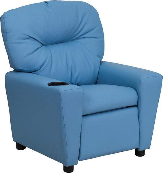 Flash Furniture Contemporary Light Blue Vinyl Kids Recliner with Cup Holder - BT-7950-KID-LTBLUE-GG