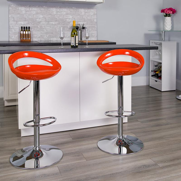 Flash Furniture Contemporary Orange Plastic Adjustable Height Barstool with Rounded Cutout Back and Chrome Base - CH-TC3-1062-ORG-GG