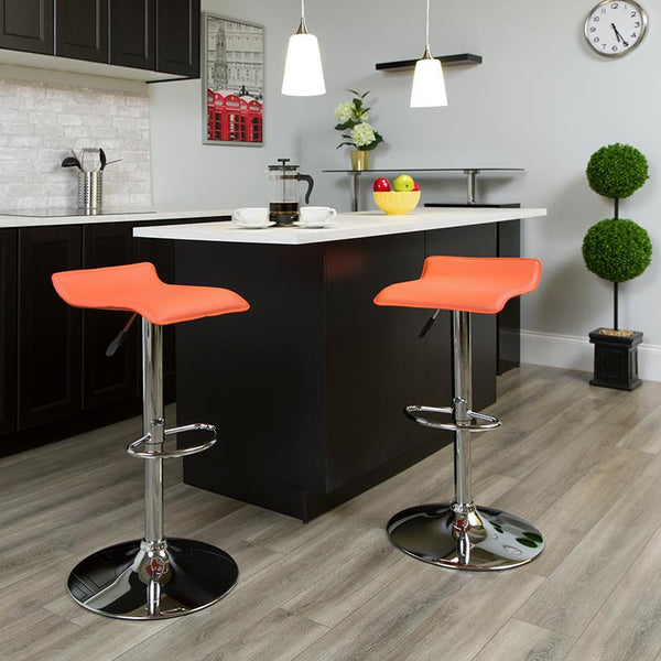 Flash Furniture Contemporary Orange Vinyl Adjustable Height Barstool with Solid Wave Seat and Chrome Base - DS-801-CONT-ORG-GG