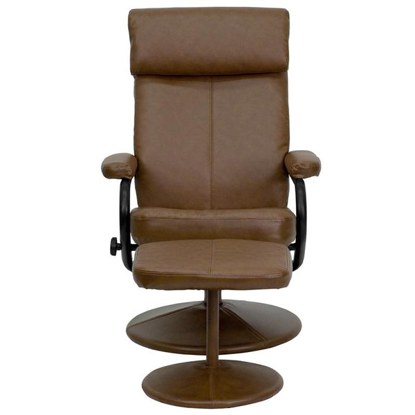 Flash Furniture Contemporary Palomino Leather Recliner with Headrest and Ottoman with Leather Wrapped Base - BT-7863-PALOMINO-GG