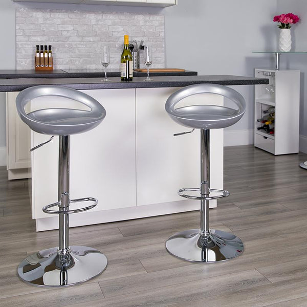 Flash Furniture Contemporary Silver Plastic Adjustable Height Barstool with Rounded Cutout Back and Chrome Base - CH-TC3-1062-SIL-GG