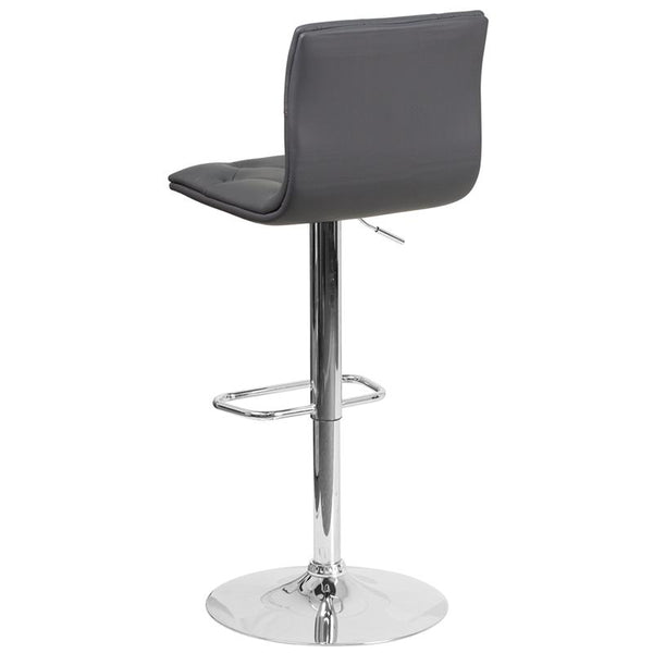 Flash Furniture Contemporary Tufted Gray Vinyl Adjustable Height Barstool with Chrome Base - CH-112080-GY-GG
