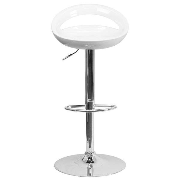 Flash Furniture Contemporary White Plastic Adjustable Height Barstool with Rounded Cutout Back and Chrome Base - CH-TC3-1062-WH-GG