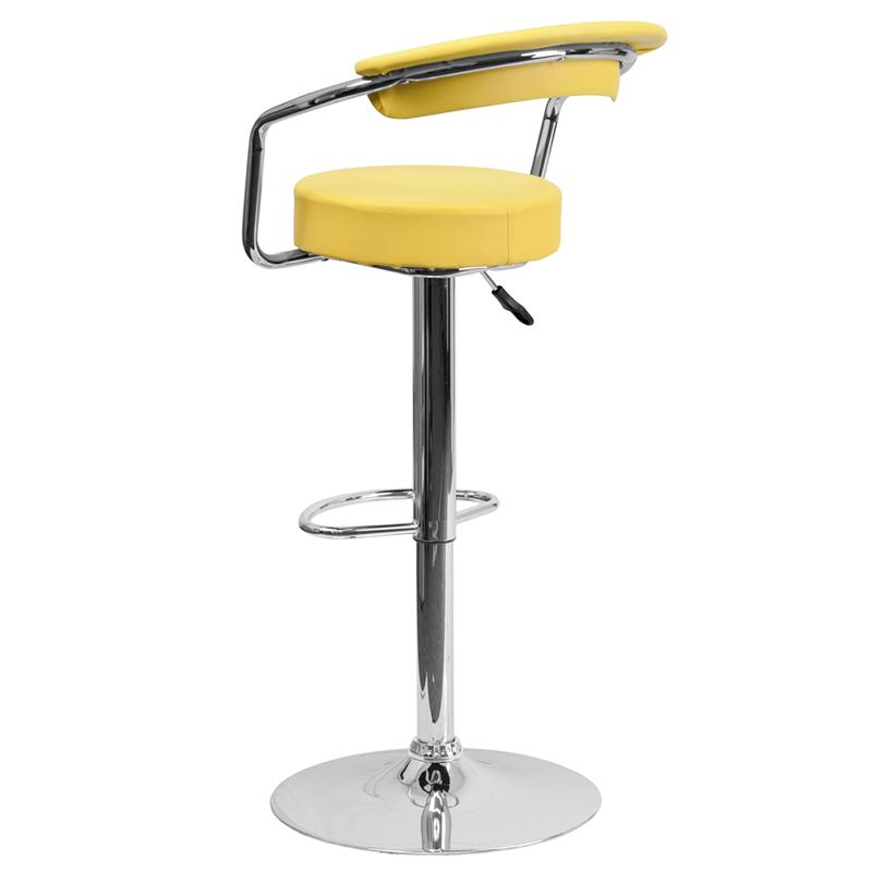 Flash Furniture Contemporary Yellow Vinyl Adjustable Height Barstool with Arms and Chrome Base - CH-TC3-1060-YEL-GG