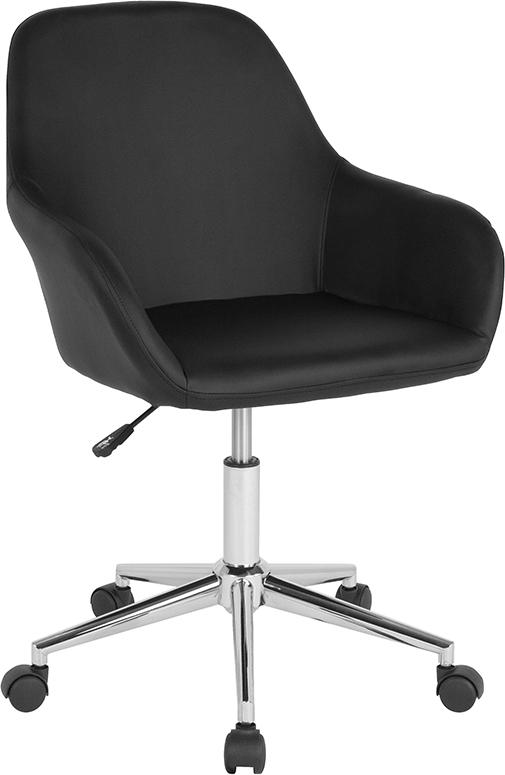 Flash Furniture Cortana Home and Office Mid-Back Chair in Black Leather - DS-8012LB-BLK-GG