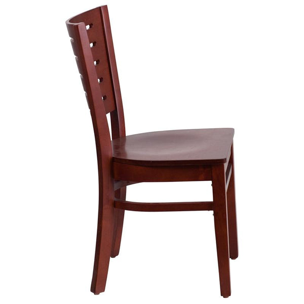 Flash Furniture Darby Series Slat Back Mahogany Wood Restaurant Chair - XU-DG-W0108-MAH-MAH-GG