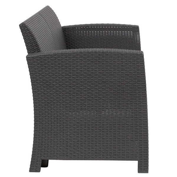 Flash Furniture Dark Gray Faux Rattan Loveseat with All-Weather Light Gray Cushions - DAD-SF2-2-DKGY-GG