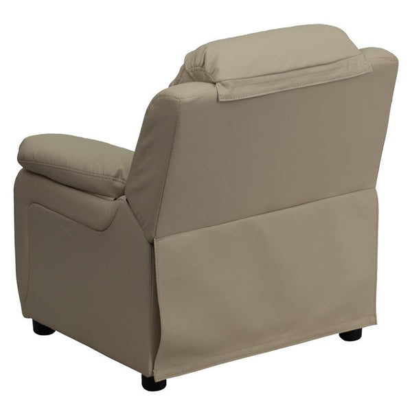 Flash Furniture Deluxe Padded Contemporary Beige Vinyl Kids Recliner with Storage Arms - BT-7985-KID-BGE-GG