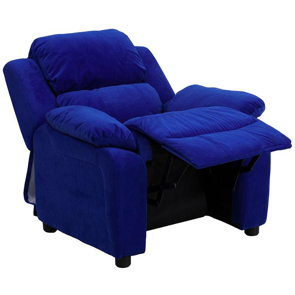 Flash Furniture Deluxe Padded Contemporary Blue Microfiber Kids Recliner with Storage Arms - BT-7985-KID-MIC-BLUE-GG