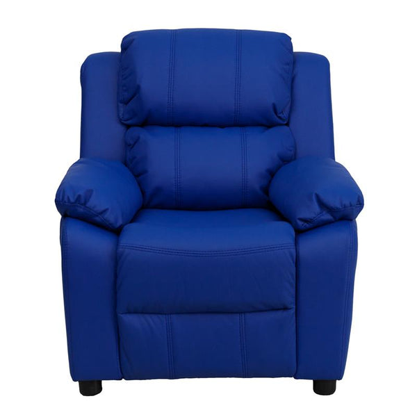 Flash Furniture Deluxe Padded Contemporary Blue Vinyl Kids Recliner with Storage Arms - BT-7985-KID-BLUE-GG