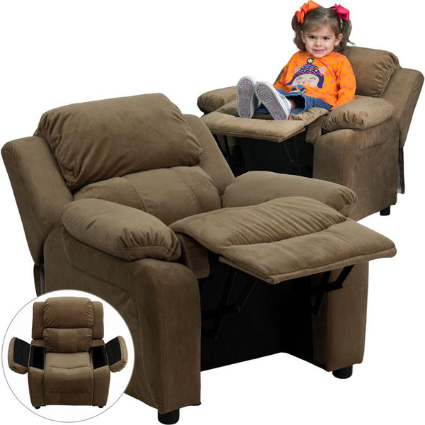 Flash Furniture Deluxe Padded Contemporary Brown Microfiber Kids Recliner with Storage Arms - BT-7985-KID-MIC-BRN-GG