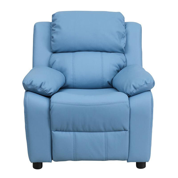 Flash Furniture Deluxe Padded Contemporary Light Blue Vinyl Kids Recliner with Storage Arms - BT-7985-KID-LTBLUE-GG