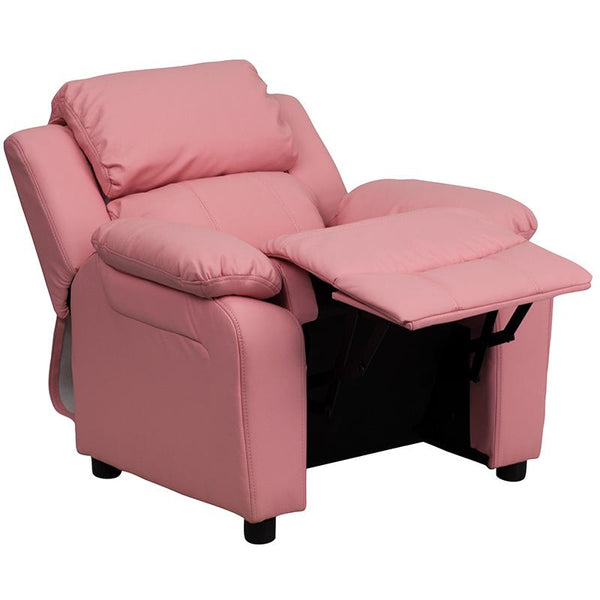 Flash Furniture Deluxe Padded Contemporary Pink Vinyl Kids Recliner with Storage Arms - BT-7985-KID-PINK-GG