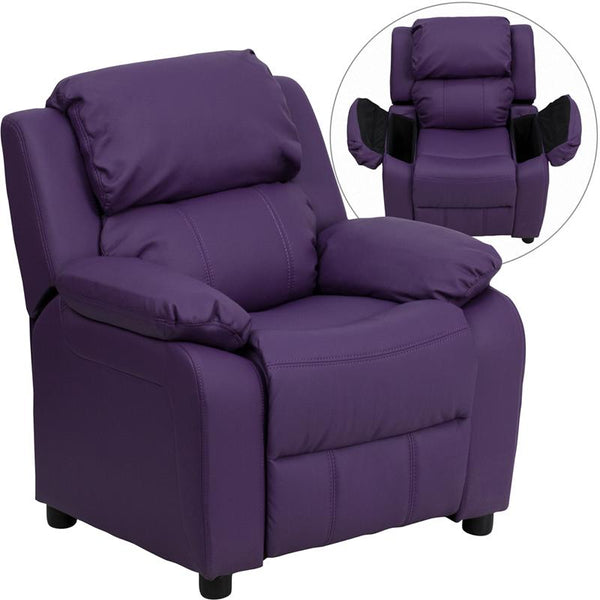 Flash Furniture Deluxe Padded Contemporary Purple Vinyl Kids Recliner with Storage Arms - BT-7985-KID-PUR-GG