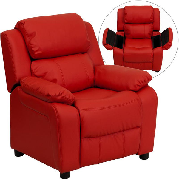 Flash Furniture Deluxe Padded Contemporary Red Vinyl Kids Recliner with Storage Arms - BT-7985-KID-RED-GG