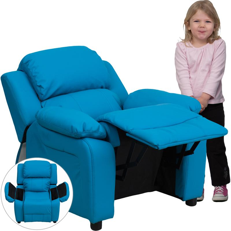 Flash Furniture Deluxe Padded Contemporary Turquoise Vinyl Kids Recliner with Storage Arms - BT-7985-KID-TURQ-GG