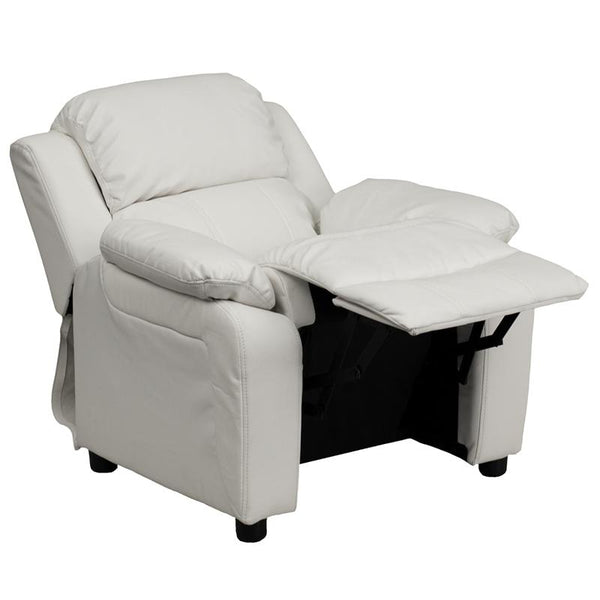 Flash Furniture Deluxe Padded Contemporary White Vinyl Kids Recliner with Storage Arms - BT-7985-KID-WHITE-GG