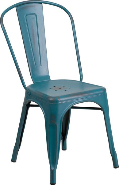 Flash Furniture Distressed Kelly Blue-Teal Metal Indoor-Outdoor Stackable Chair - ET-3534-KB-GG