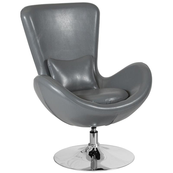 Flash Furniture Egg Series Gray Leather Side Reception Chair - CH-162430-GY-LEA-GG