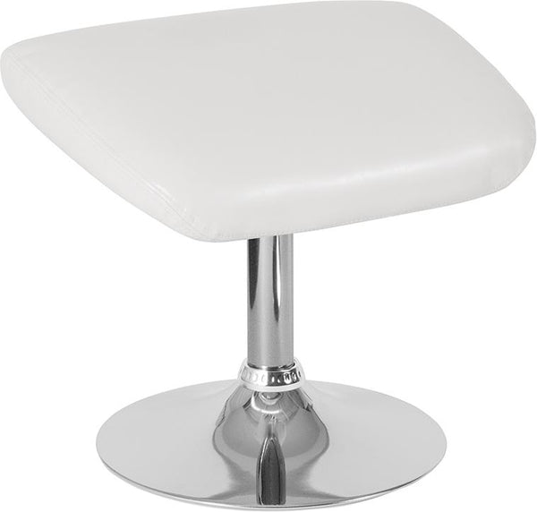 Flash Furniture Egg Series White Leather Ottoman - CH-162430-O-WH-LEA-GG