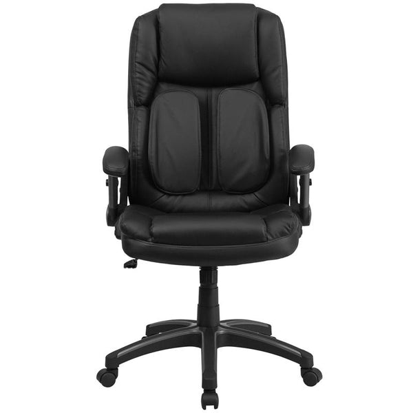 Flash Furniture Extreme Comfort High Back Black Leather Executive Swivel Chair with Flip-Up Arms - BT-90275H-GG