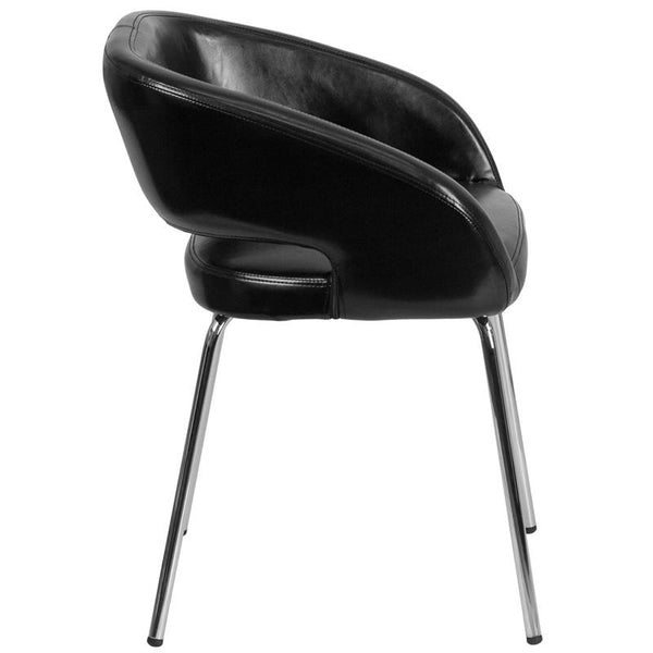 Flash Furniture Fusion Series Contemporary Black Leather Side Reception Chair - CH-162731-BK-GG