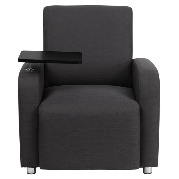 Flash Furniture Gray Fabric Guest Chair with Tablet Arm and Chrome Legs - BT-8217-GY-GG